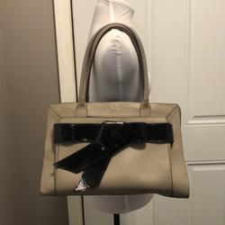 Kate Spade Bags   Kate Spade - Putty Leather W Patent Leather Bow   Color: Black/Gray   Size: Os