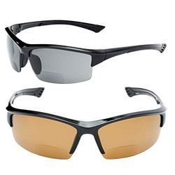 2 Pair of Unisex Bifocal Reading Sunglasses - Sport Wrap Sun Readers, ANSI Z87.1 Certified (Black/Brown Lens, 3.0)
