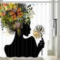 Black Girl Shower Curtain, Afro African Women Hair with Spring Flower Butterflies Shower Curtain, Nature Harmony Woman with Butterfly Afro Funny Bathroom Set 12PCS Hooks (Black, 69'' W by 70'' L)