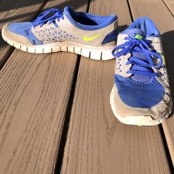 Nike Shoes | Moving Sale! Nike Free Runs *No Insole* | Color: Green/Purple | Size: 7.5