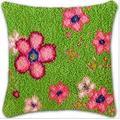 DMDMJY Coussin Bricolage Tapis Tapis Loquet Crochet Tapis Kits Cover Craft Broderie À La Main Taie Crocheting Couture À La Main pour Bébé Enfants Parents Cadeau, 16 X 16 Pouces