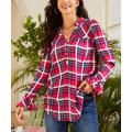 Suzanne Betro Weekend Women's Blouses 101BURGUNDY - Burgundy & White Plaid Notch Neck Button-Front Bell-Sleeve Tunic - Women & Plus