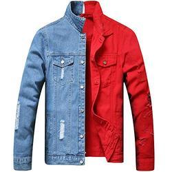 LZLER Jean Jacket for Men,Separable Left&Right Ripped Slim Fit Mens Denim Jacket(1802Red-Blue, XX-Large)