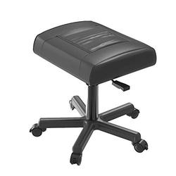 Ottomans/Office Footrests, PU Leather Foot Stool with Wheels, Foot Stand Under Desk, Height Adjustable Rolling Leg Rest, Computer Foot Rest Under Desk at Work, Small Footstool Relax Chair Gaming,Black