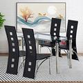 MTFY 5-Piece Kitchen Dining Table Set,Dining Table Set w/Glass Table Top,4 Leather PaddedChairs,Metal Frame Table for Breakfast Dining Room Kitchen Furniture (5-Piece Set-5)
