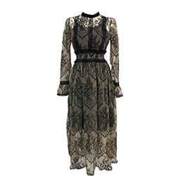 ROBE 2020 Nouvelles Femmes de Mode Robe de Dentelle Taille Haute Sheer Longue Robe de Maille Dentelle Brodée Robe de Fée Femme Vestidos Robe - - S