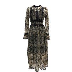 ROBE 2020 Nouvelles Femmes de Mode Robe de Dentelle Taille Haute Sheer Longue Robe de Maille Dentelle Brodée Robe de Fée Femme Vestidos Robe - - L
