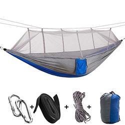 Hamac De Camping Portable Hamac d'arbre Extérieur Intérieur avec Filet Anti-Insectes, 2 Sangles De Suspension, Hamacs De Parachute en Nylon Léger Gray