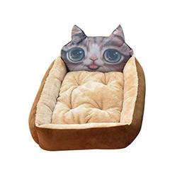 YANQ Chien Lavable Kennel Teddy Chiot Rongeur Corgi Moyen Petit Chien Printemps et en été Sleeping Dog Matelas (Couleur : Marron, Taille : 60cm)