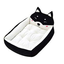 YANQ Chien Lavable Kennel Teddy Chiot Rongeur Corgi Moyen Petit Chien Printemps et en été Sleeping Dog Matelas (Couleur : Noir, Taille : 55cm)