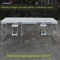 ZRR Table Pliante et Chaise Ensemble Table de Jardin Portable en Alliage d'aluminium Bureau d'affaires Table de Plage Barbecue Table de Pique-Nique, 09