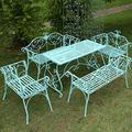 outdoor furniture Ensemble Table et chaises d'extérieur Banc de Parc en Fer forgé, Banc de Jardin Bleu avec Dossier et accoudoirs, siège de Jardin de Loisirs extérieur 3 Places de Style européen