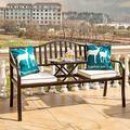 outdoor furniture Banc de Jardin extérieur en métal, Ensemble Table et Chaise de Jardin Banc de Loisirs avec Table à thé réglable, Banc de Jardin Simple avec accoudoirs et Dossier, Support de 400 kg