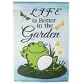 """Northlight Seasonal Life Is Better in The Garden Frog 2-Sided Polyester Garden Flag in Gray/Green, Size 18"""" H x 12.5"""" W 