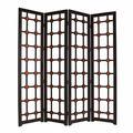 Benjara Wooden 4 Panel Screen w/ Modern Cosmopolitan Design, Black & RedWood in Black/Brown, Size 84.0 H x 84.0 W x 2.0 D in   Wayfair BM205941