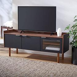 Safavieh Home Collection Safiya Walnut and Black 3-Door 2-Shelf Media (60-inch Flat Screen) TV Stand