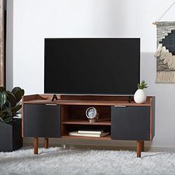 Safavieh Home Collection Diara Walnut and Black 2-Shelf 2 Door Media (50-inch Flat Screen) TV Stand