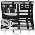POLIGO 22PCS Camping BBQ Grill Accessories Kit Stainless Steel BBQ Tools Grilling Tools Set in Aluminum Case for Father's Day Birthday Presents - Grill Utensils Set Ideal Grilling Gifts for Men Dad