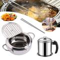 Deep Fryer Pot Tempura Deep Fryer 304 Stainless Steel Japanese-Style Deep Fryer With Temperature Control And Oil Filter Rack Lid For Kitchen Cooking