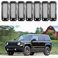 AVOMAR Latest 7PCS Front Grill Cover Mesh Grille Insert Kit Compatible with 2011-2016 Jeep Patriot (Black 7PCS Mesh Insert)