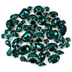 DONGZHOU Crystal Fancy Stone with Setting Blue Zircon Mixed Shapes Sew On Rhinestones Big Crystals Glass Stone with Claw for Clothes Dress Costume Belt Shoes