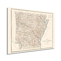 HISTORIX Vintage 1886 Arkansas State Map - 18x24 Inch Arkansas State Vintage Map - Arkansas Poster - Map Arkansas Wall Art - Vintage Arkansas Wall Map - Restored Historic Arkansas Map Poster (2 Sizes)