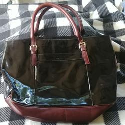 Kate Spade Bags | Kate Spade Leather And Patent Leather Laptop Bag | Color: Brown | Size: Os