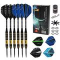 GAO Darts Set - Professional Steel Tip Darts Set with Aluminum Shafts, Rubber O'Rings, and Extra Flights + Dart Sharpener + Innovative Case Tool+ Extra O'Rings