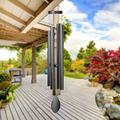 """Epartswide Large Wind Chimes Outside Deep Tone,44"""" Memorial Wind Chimes Outdoor with 4 Heavy Tubes Soothing Melody Wind Chimes Large Sympathy for Mom Patio Hanging Decor(Black)"""