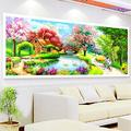 RAILONCH DIY Large 5D Diamond Painting Full Drill Landscape Painting Arts Craft for Home Wall Decor- Small Bridge Flowing Water (150X60cm)