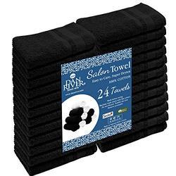 DAN RIVER 100% Cotton Hand Towels Set of 24  Ultra Soft Hand Towels  Bulk Hand Towels  Cotton Salon Towel  Spa Hand Towel  Gym Hand Towel  Absorbent  Black Hand Towel  Hand Towel 16x26 in  400 GSM