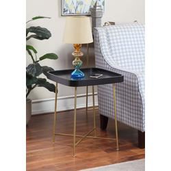 Lunar End Table in Black / Gold Finish - Convenience Concepts 502245BLG