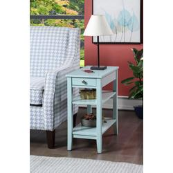 American Heritage Three Tier End Table w/ Drawer in Sea Foam Finish - Convenience Concepts 7107159SF