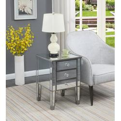 Gold Coast 3 Drawer Mirrored End Table in Mirror / Antique Silver Finish - Convenience Concepts 413245AS