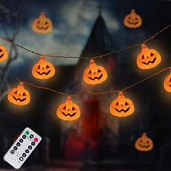 LUMINATERY Jack O' Lantern Halloween Pumpkin Lantern String Lights, 30LED 8 Lighting Modes, Remote Control, Battery-Powered, Perfect for Indoor Outdoor Halloween Decoration (Orange)
