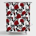 """MitoVilla Skull Rose Shower Curtain, Sugar Skull and Red Rose Florals Pattern Artwork Bathroom Decor for Halloween and All Saints Day, Skull Gifts for Women, Men and Teens, Black Red, 72"""" W x 72"""" L"""