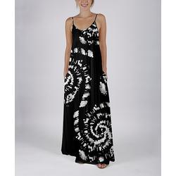 Beyond This Plane Women's Maxi Dresses BLK - Black & White Tie-Dye Pocket Sleeveless Maxi Dress - Women & Plus