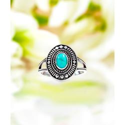 Sevil 925 Women's Rings 2.8 - Reconstituted Turquoise & Sterling Silver Oval Ring