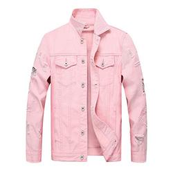 LZLER Jean Jacket for Men, Classic Ripped Slim Denim Jacket with Holes (Pink2023, XX-Large)
