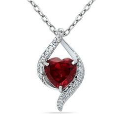 Belk & Co. Silver 2.14 ct. t.w. Created Pink Sapphire and Created White Sapphire Heart Pendant Necklace in Sterling Silver