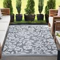 Winston Porter Bogaerts Floral Gray/White Indoor/Outdoor Area Rug in Brown/Gray/White, Size 83.0 H x 59.0 W x 0.25 D in | Wayfair