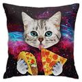 ULQUIEOR Space Cat Kitten Eatting Pizza Throw Pillow Covers Square Decorative Pillow Case Cushion Case for Sofa Couch Bed Car Gift 18x18 Inch