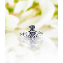 Sevil 925 Women's Rings 2.8 - Purple Crystal & Sterling Silver Claddagh Ring