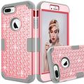 """iPhone 8 Plus Case, UZER 3in1 Shockproof Luxury Glitter Sparkle 3D Diamond Studded Bling Rhinestone Hard PC Soft Silicone Combo Hybrid Impact Defender Protective Case Cover for iPhone 8 Plus 5.5"""" 2017"""