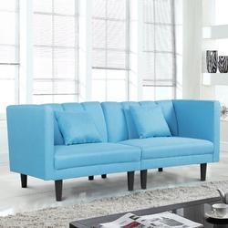 "Corrigan Studio® Mechling 73.6"" Tuxedo Arm Sleeper Linen/Linen Blend in Blue/Black, Size 30.7 H x 73.6 W x 27.5 D in   Wayfair"