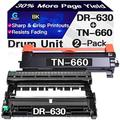 Go4max Compatible Toner Cartridge & Drum Unit Replacement for Brother DR630 DR-630 TN660 TN-660 Drum use for Brother HL-L2300D MFC-L2680W MFC-L2740DW DCP-L2520DW Printer (1x Drum + 1x Toner, 2-Pack)