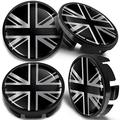 Biomar Labs 4 x Universal Wheel Centre Alloy Hub Center Caps Hubcaps Compatible with VW Part Number: 3B7601171 UK GB Union Jack United Kingdom England British National Silver Flag 65mm CV 29