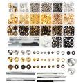 Leather Rivet Kit 364 pcs 4 Style Metal Snaps Including Snap Button Kit, Screws, Press Studs, Rivets for Leather, Belt,Jacket, DIY Leather Craft (3-4 Colors per Style)