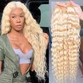613 Water Wave Bundles 613 Blonde Bundles (28 28 28 inch) 9A Brazilian 3 Bundles 100% Human Hair Bundles 613 Honey Blonde Water Weave Hair Extensions(28/28/28 Inch,3 bundles)