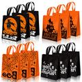"""Whaline 12 Pack Halloween Non-Woven Bags Trick or Treat Tote Gift Bags Orange Black Skull Pumpkin Web Spider Witch Candy Bags Reusable Goodie Treat Bag with Handle for Halloween Party Favors, 12 x 15"""""""
